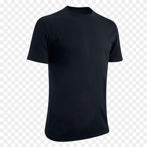 Men's black blank T-shirt template on transparent background PNG