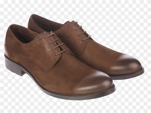 Men's classic brown leather shoes on transparent background PNG
