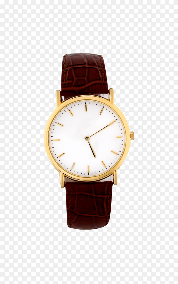 Men's watch with brown leather band on transparent background PNG