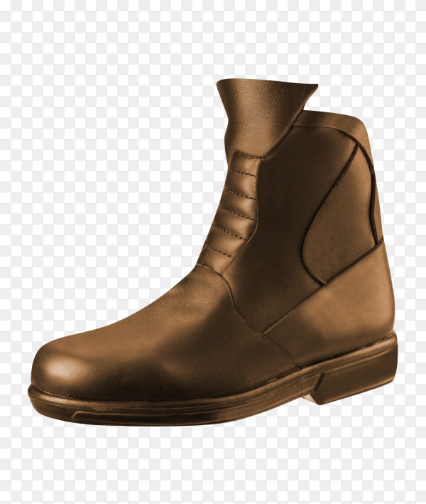 Mens classic brown leather shoes on transparent background PNG
