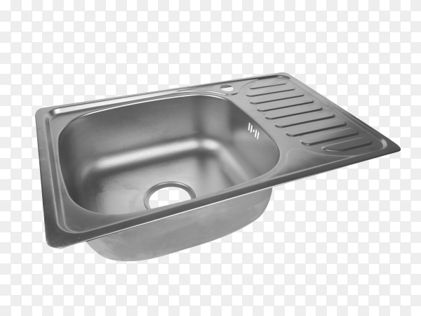 Metallic kitchen sink on transparent background PNG