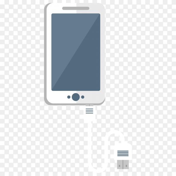 Mobile phone charging design on transparent background PNG