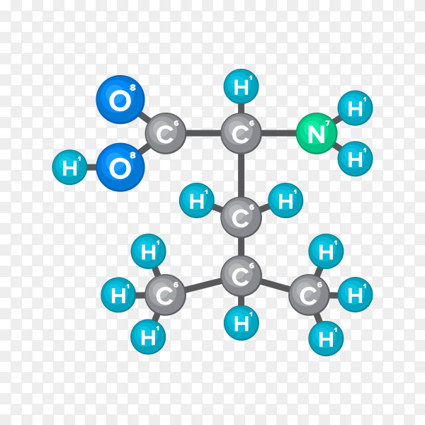 Molecular structure of chemical substance on transparent PNG