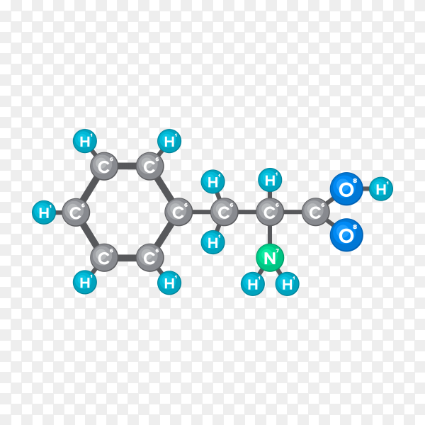 Molecular structure of chemical substance premium vector PNG