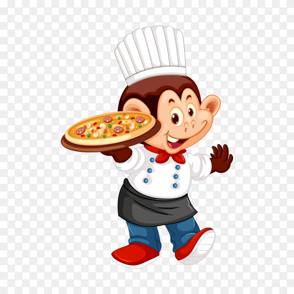 Monkey chef hand drawn on transparent background PNG