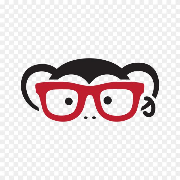 Monkey logo design on transparent background PNG