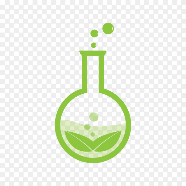Natural green lab logo on transparent background PNG