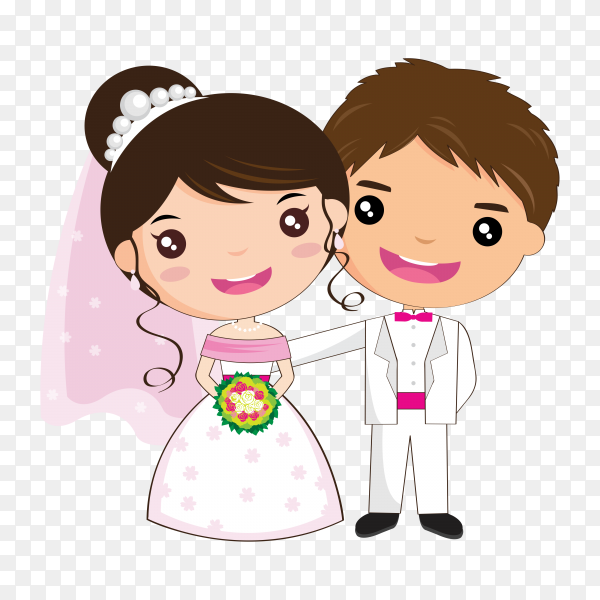 Nice wedding couple in cartoon style on transparent background PNG