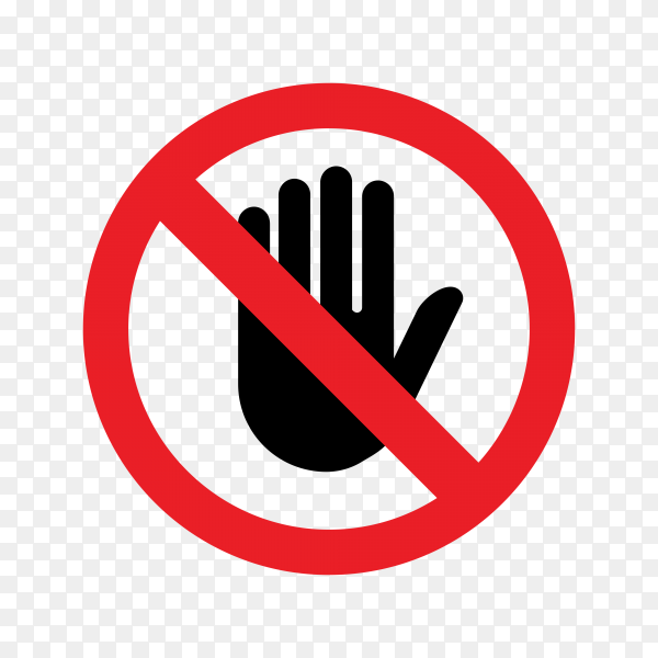 No entry hand sign isolated on transparent background PNG