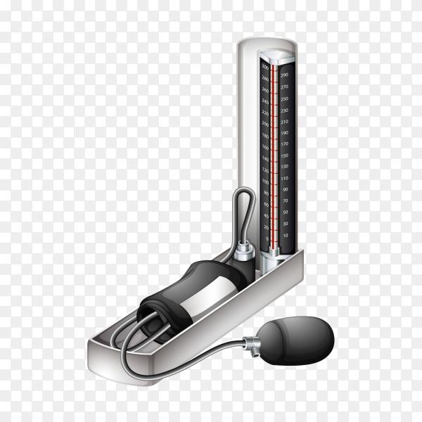 Old Blood pressure measurement device on transparent background PNG
