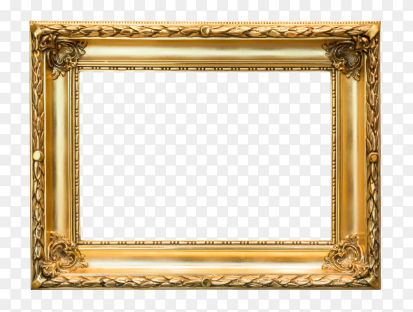 Old vintage golden ornate frame isolated on transparent background PNG