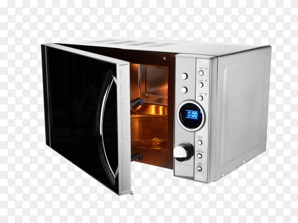 Open microwave isolated on transparent background PNG