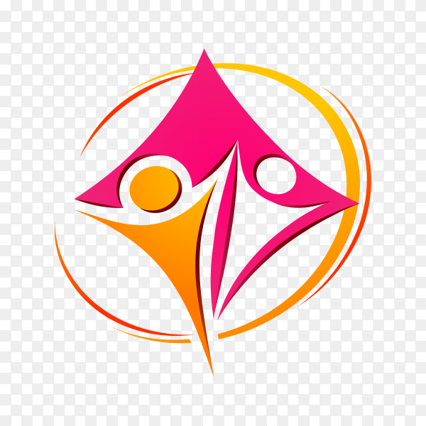 People care in circle, foundation logo on transparent background PNG