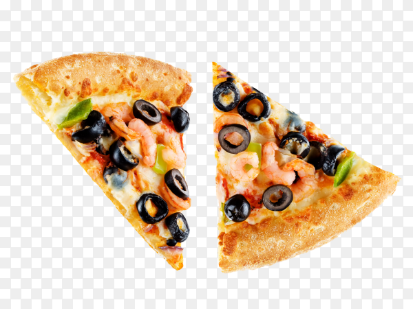 Pizza with shrimp, olives, green pepper and onion isolated on transparent background PNG