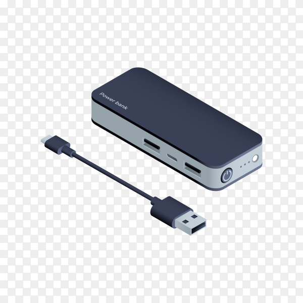Power bank Battery bank isolated on transparent background PNG