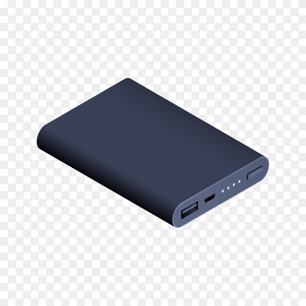 Power bank for charging mobile devices on transparent background PNG