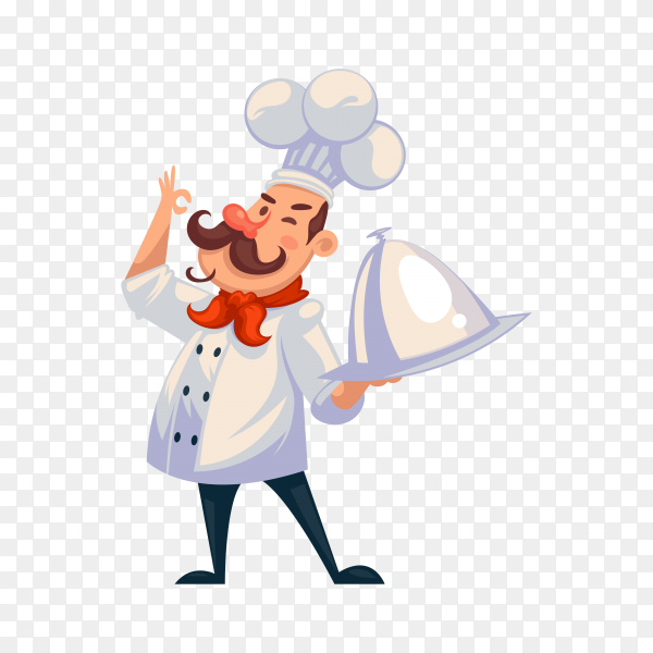 Proud chef with tray on transparent background PNG