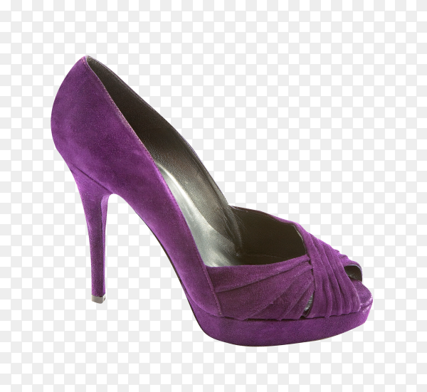Purple high heel shoes isolated on transparent background PNG