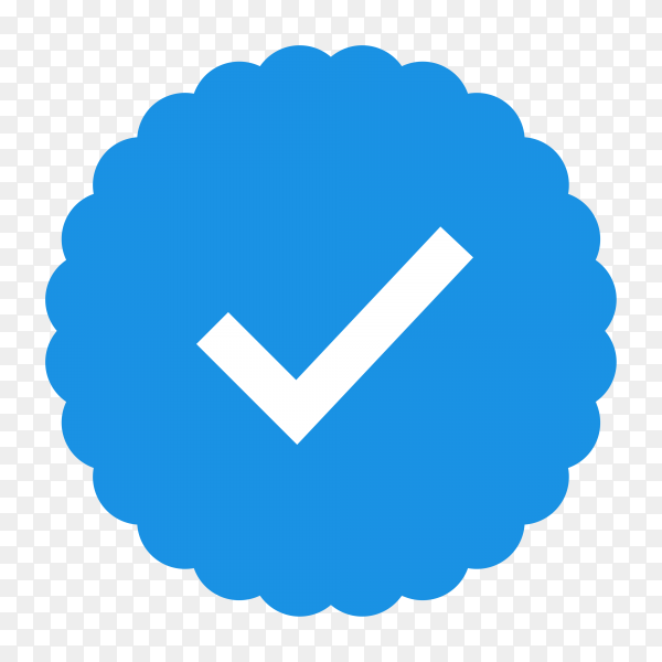Quality icons. blue flat star shape stickers. profile verification sign. badges of warranty, approval, accept and quality. flat check mark premium vector PNG