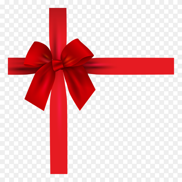 Realistic 3d red bow and ribbon isolated on transparent background PNG.png