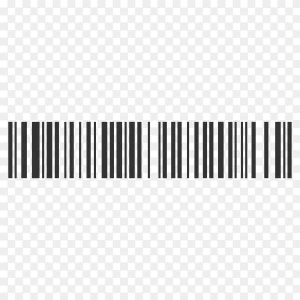 Realistic bar code icon. A modern simple flat barcode on transparent background PNG