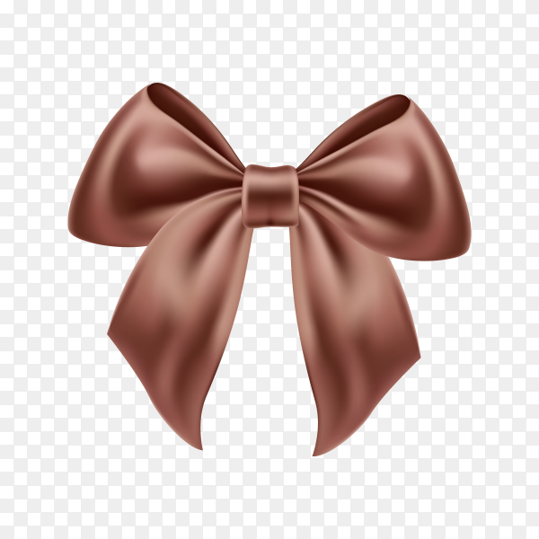 Realistic brown satin bow on transparent background PNG.png