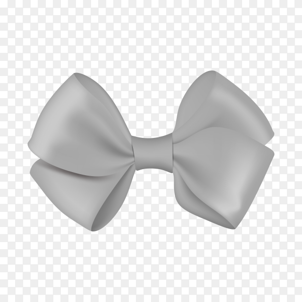Realistic gray bow template for design on transparent background PNG.png