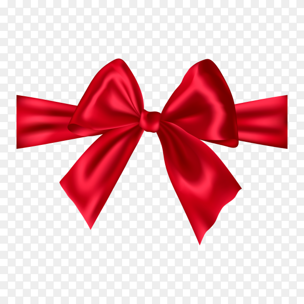 Realistic red satin bow on transparent background PNG.png
