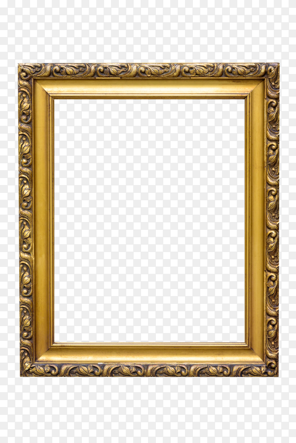 Rectangle decorative gold picture frame isolated on transparent background PNG
