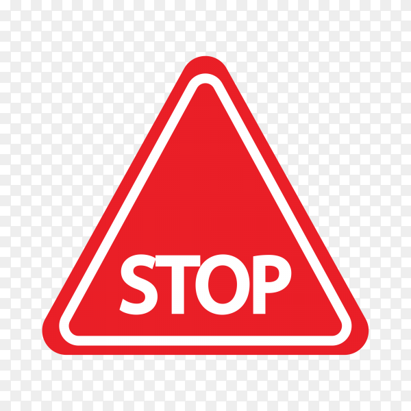 Red Stop Sign isolated on transparent background PNG