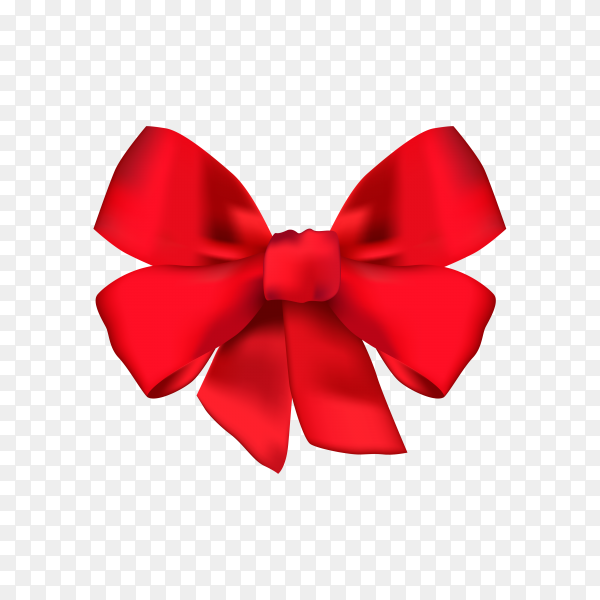 Red bow and ribbon on transparent background PNG.png