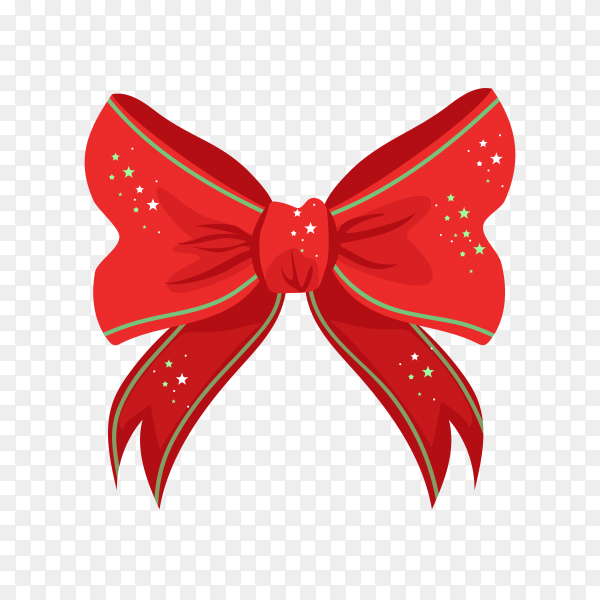 Red christmas bow with shiny stars isolated on transparent background PNG.png