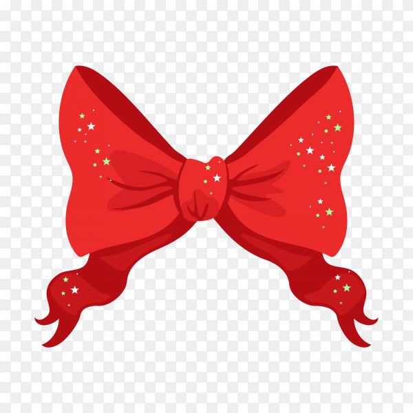 Red christmas bow with shiny stars on transparent PNG.png