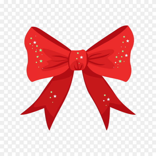 Red christmas bow with shiny stars on transparent background PNG.png