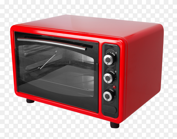 Red electric oven isolated on transparent background PNG