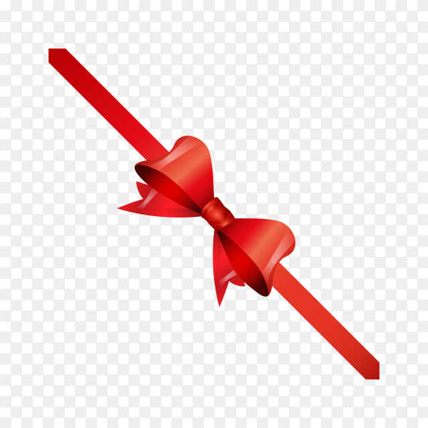Red ribbon bow on transparent background PNG.png