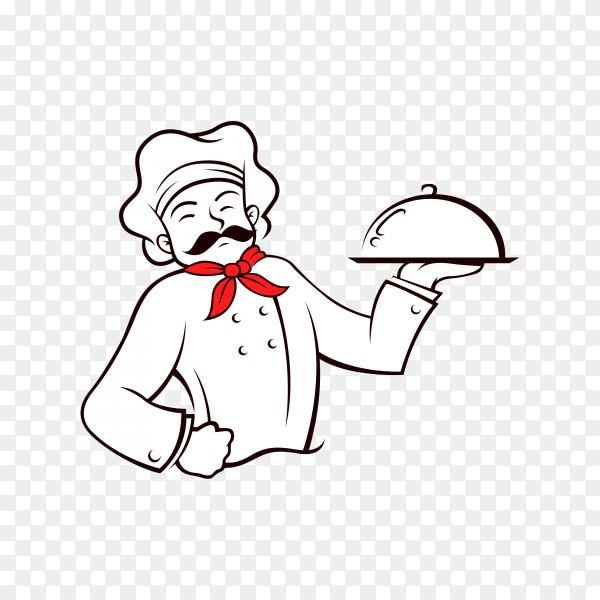 Restaurant chef character design on transparent background PNG