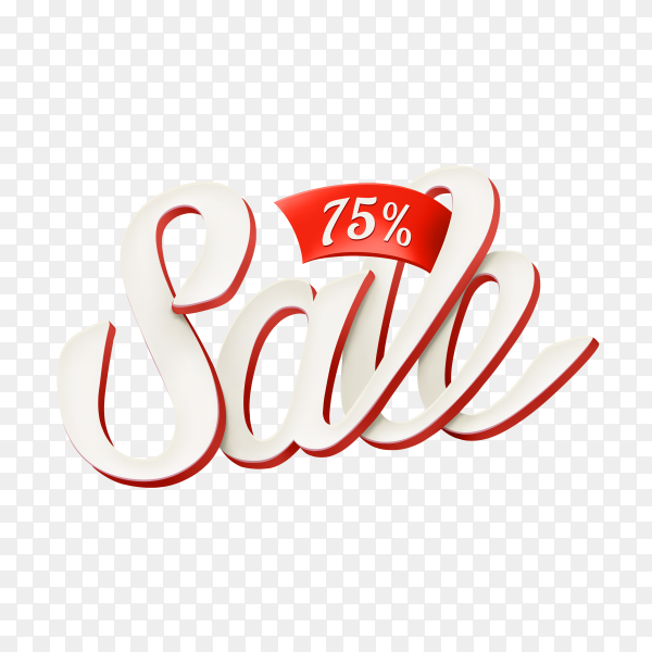 Sale banner with text on transparent background PNG