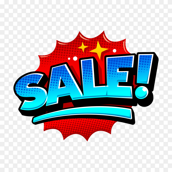 Sale text on speech bubble with abstract shape on transparent background PNG