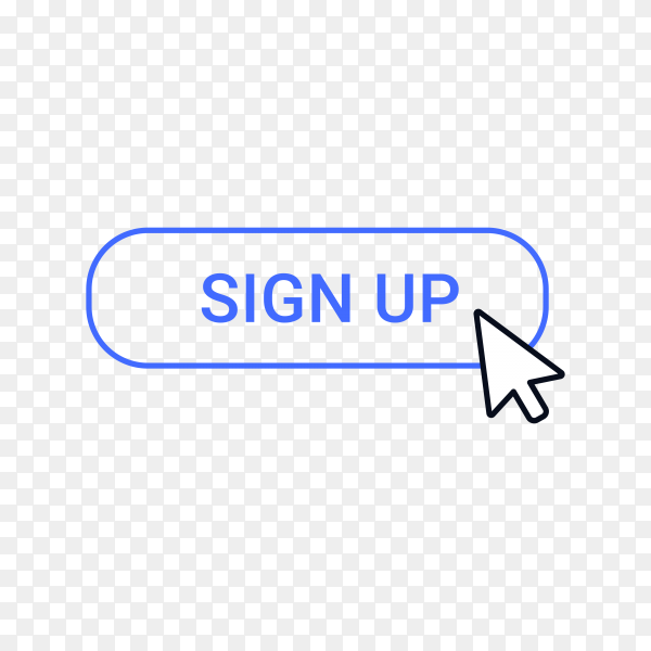 Sign up button with hand mouse on transparent background PNG