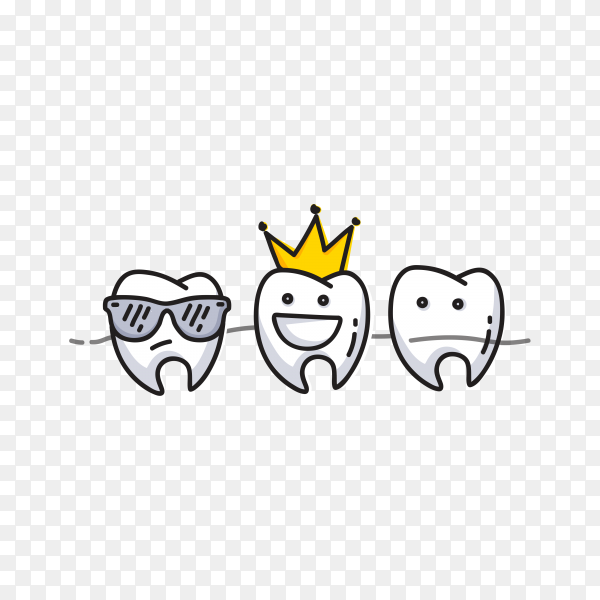 Small comic teeth character scenes on transparent PNG