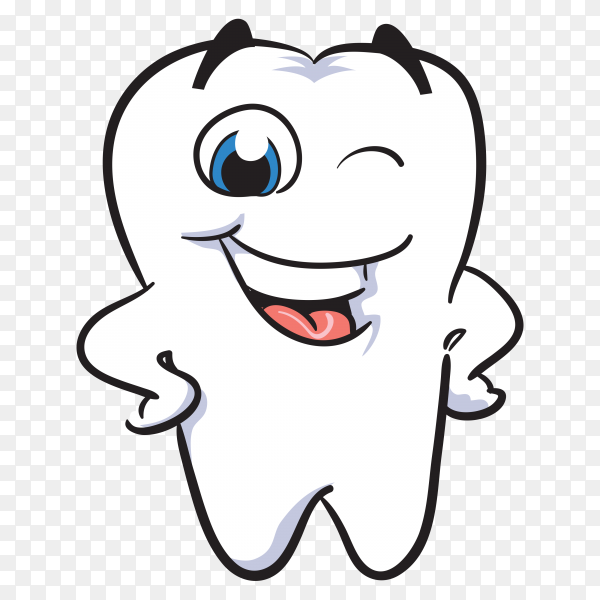 Smiling cartoon tooth. Healthy tooth with smiling face on transparent background PNG.png