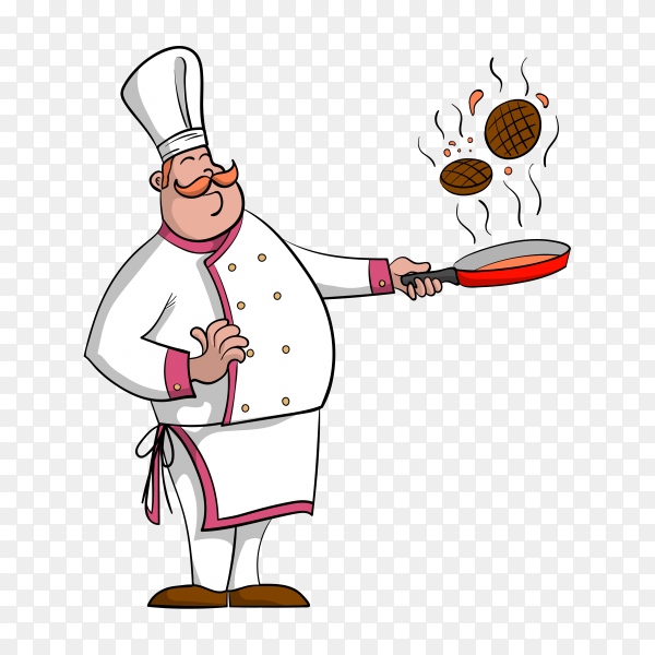 Smiling chef prepared happy meal on transparent background PNG