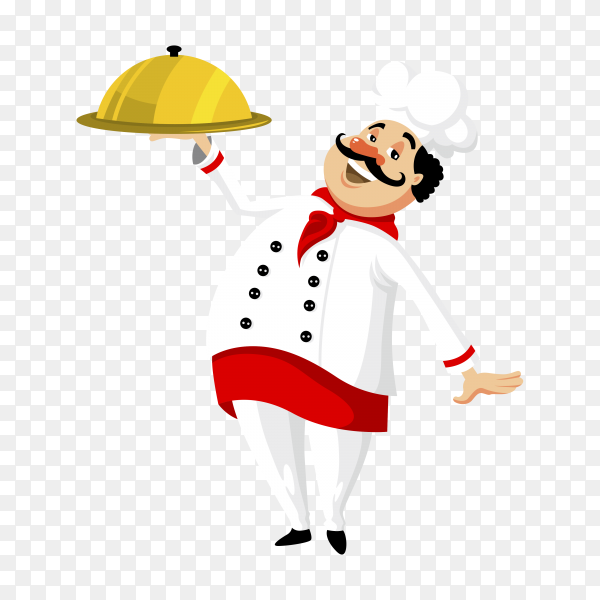 Smiling chef with tray on transparent background PNG