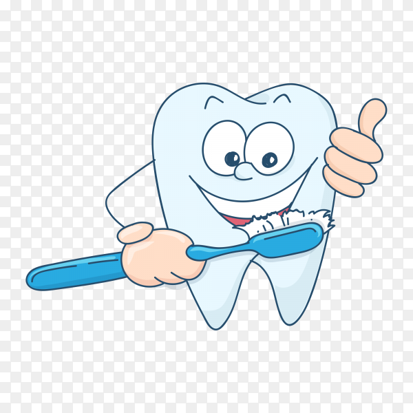 Smiling tooth mascot teeth with a toothbrush on transparent background PNG.png