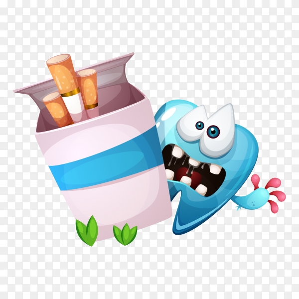 Smoking hurts your teeth. Cartoon illustration on transparent background PNG