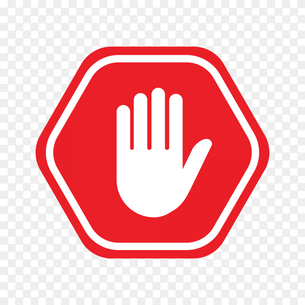 Stop sign push hand. Do not enter stop symbol with hand on transparent background PNG