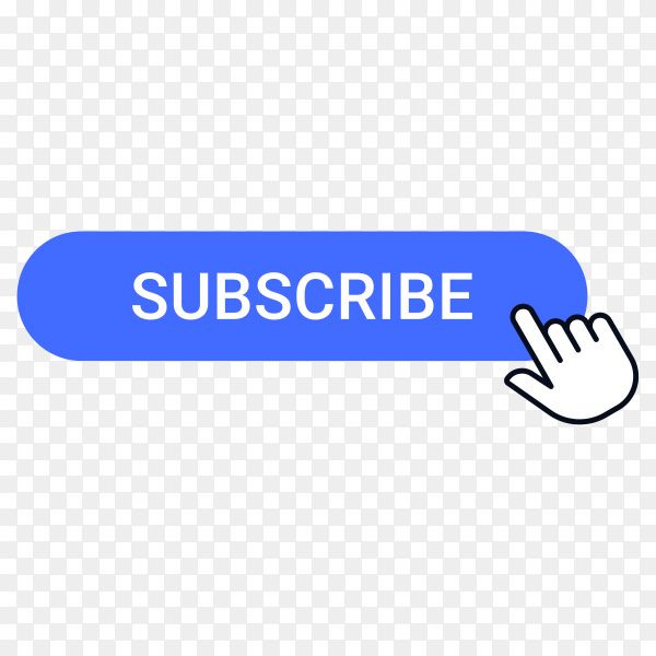 Subscribe button with hand pointer clicking on transparent background PNG
