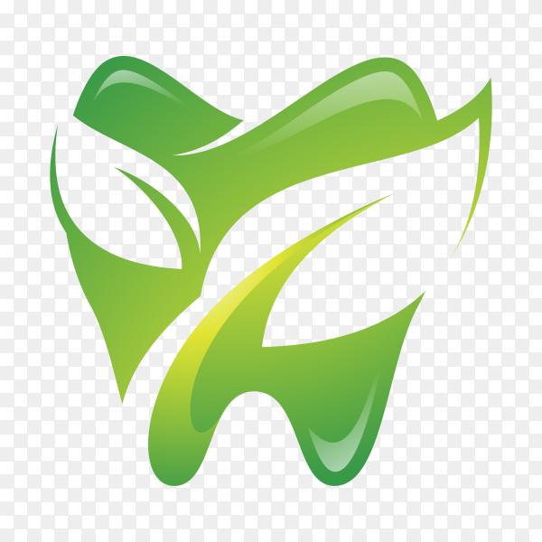 Teeth dental and green leaf logo on transparent background PNG.png