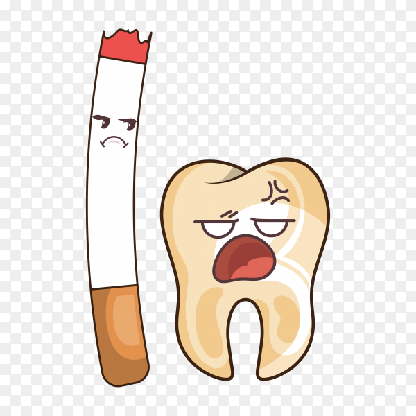 Teeth funny character with cigarette on transparent background PNG